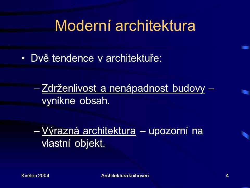 Květen 2004Architektura knihoven4 Moderní architektura Dvě tendence v architektuře: –Zdrženlivost a nenápadnost budovy – vynikne obsah. –Výrazná archi