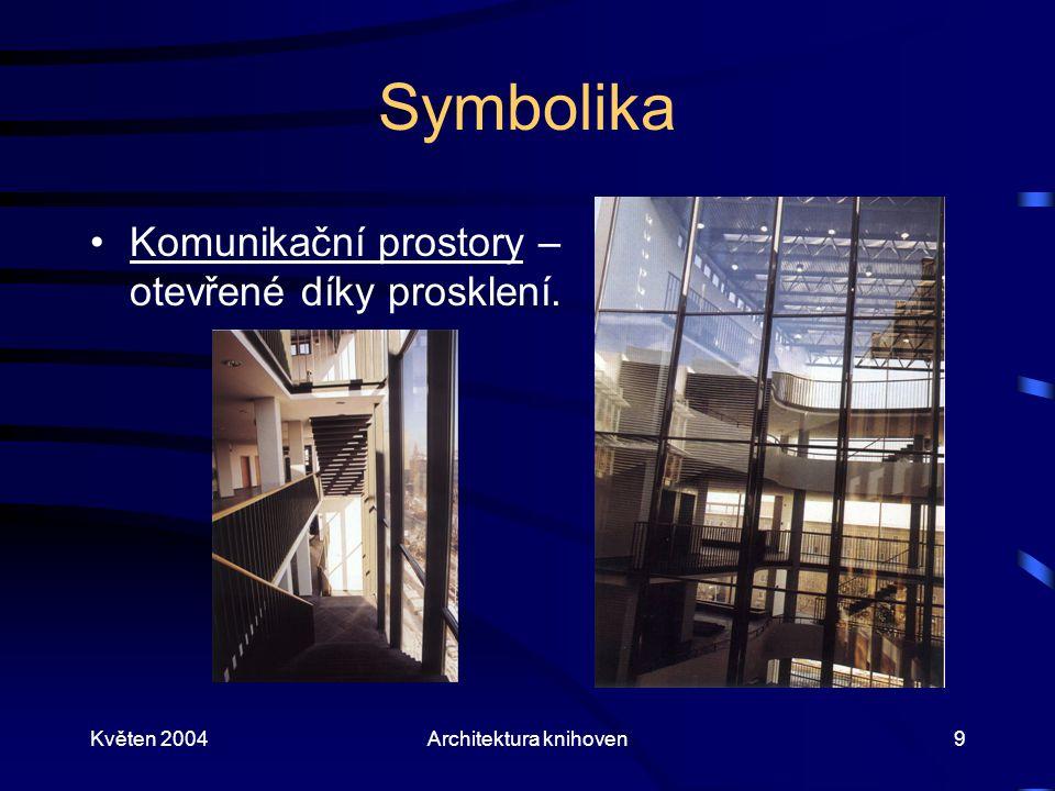 Květen 2004Architektura knihoven9 Symbolika Komunikační prostory – otevřené díky prosklení.