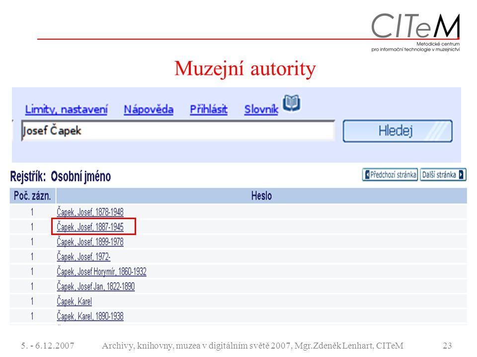 5. - 6.12.2007Archivy, knihovny, muzea v digitálním světě 2007, Mgr.Zdeněk Lenhart, CITeM23 Muzejní autority
