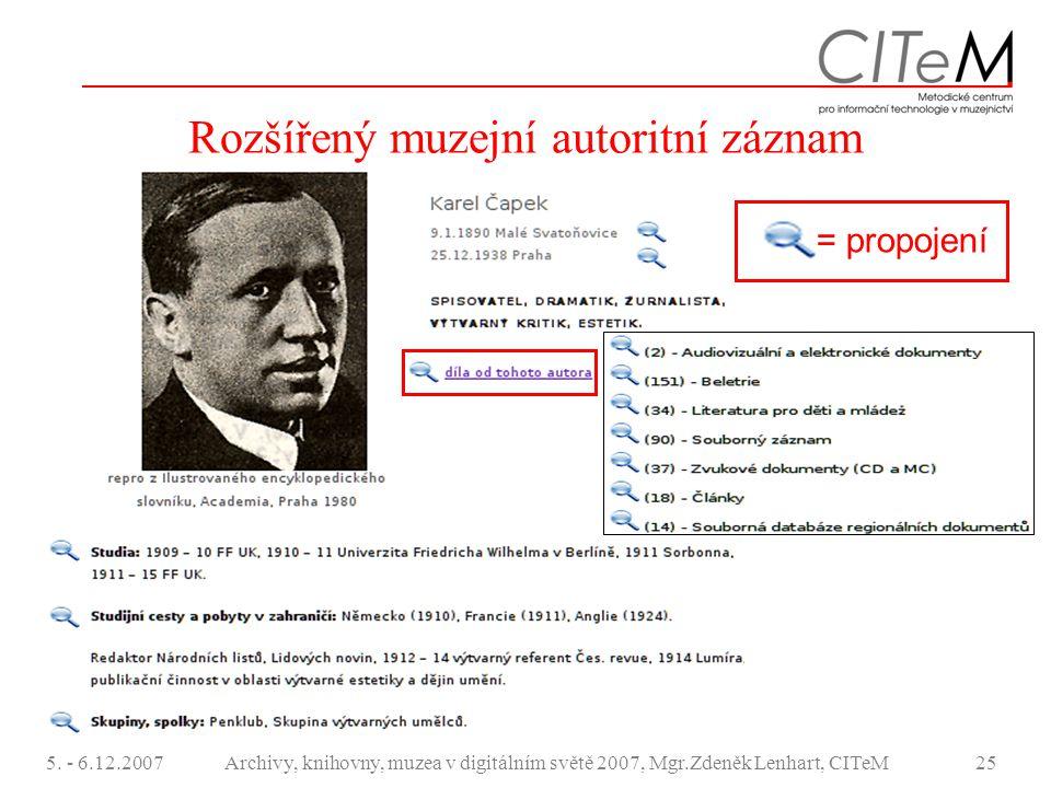5. - 6.12.2007Archivy, knihovny, muzea v digitálním světě 2007, Mgr.Zdeněk Lenhart, CITeM25 Rozšířený muzejní autoritní záznam = propojení