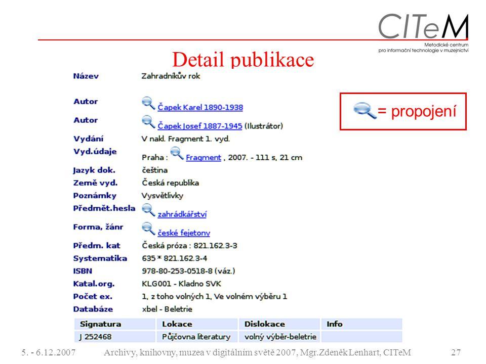 5. - 6.12.2007Archivy, knihovny, muzea v digitálním světě 2007, Mgr.Zdeněk Lenhart, CITeM27 Detail publikace = propojení