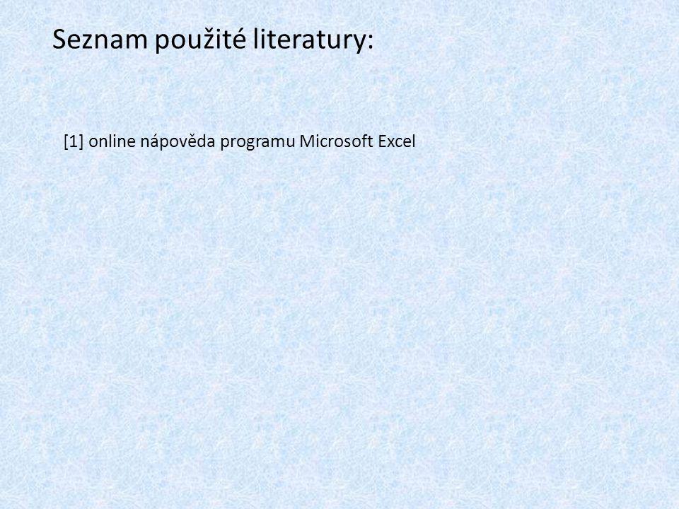 Seznam použité literatury: [1] online nápověda programu Microsoft Excel