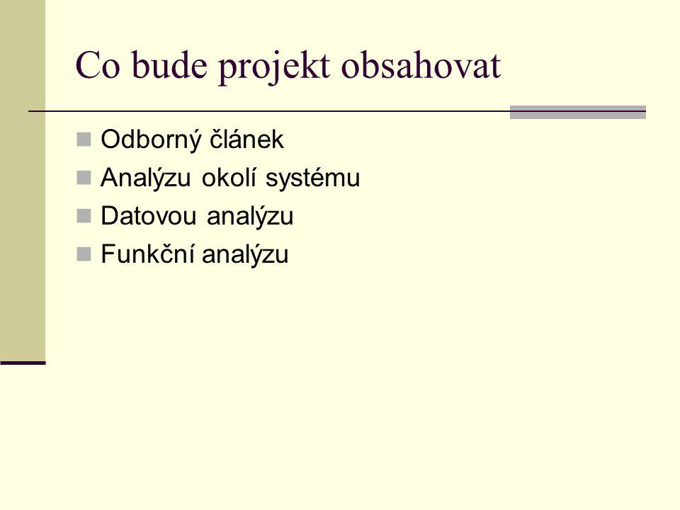 Co bude projekt obsahovat Odborný článek Analýzu okolí systému Datovou analýzu Funkční analýzu