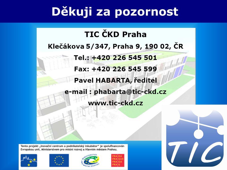5.3.2008 TIC ČKD Praha Klečákova 5/347, Praha 9, 190 02, ČR Tel.: +420 226 545 501 Fax: +420 226 545 599 Pavel HABARTA, ředitel e-mail : phabarta@tic-ckd.cz www.tic-ckd.cz Děkuji za pozornost