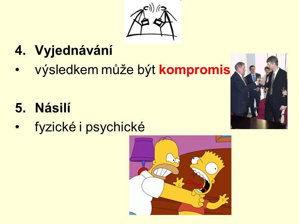 4.Vyjednávání výsledkem může být kompromis 5.Násilí fyzické i psychické