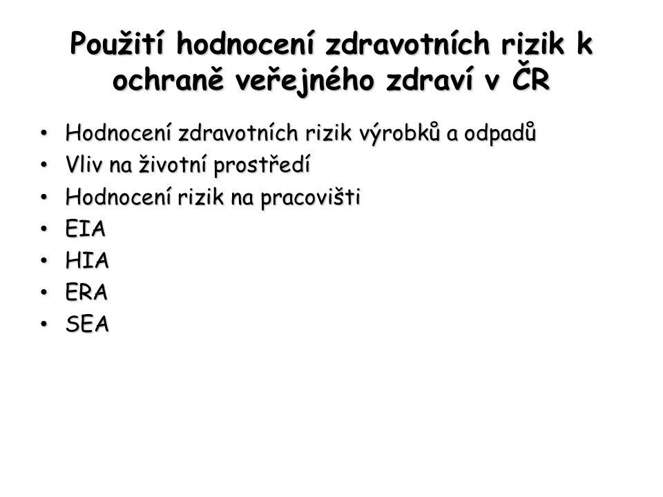 Použití hodnocení zdravotních rizik k ochraně veřejného zdraví v ČR Hodnocení zdravotních rizik výrobků a odpadů Hodnocení zdravotních rizik výrobků a