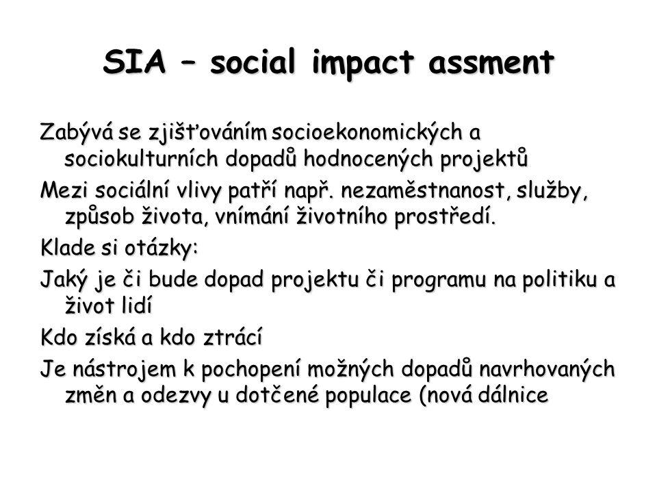 SIA – social impact assment Zabývá se zjišťováním socioekonomických a sociokulturních dopadů hodnocených projektů Mezi sociální vlivy patří např. neza