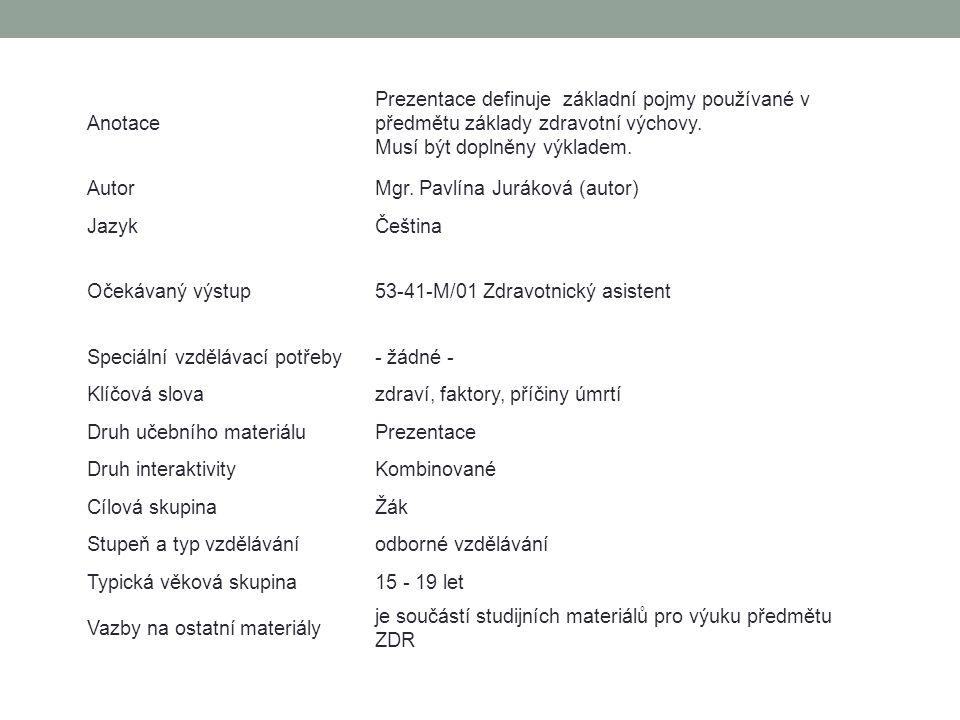WHO a faktory životního prostředí WHO = World Health Organisation - Světová zdravotnická organizace - založena 7.