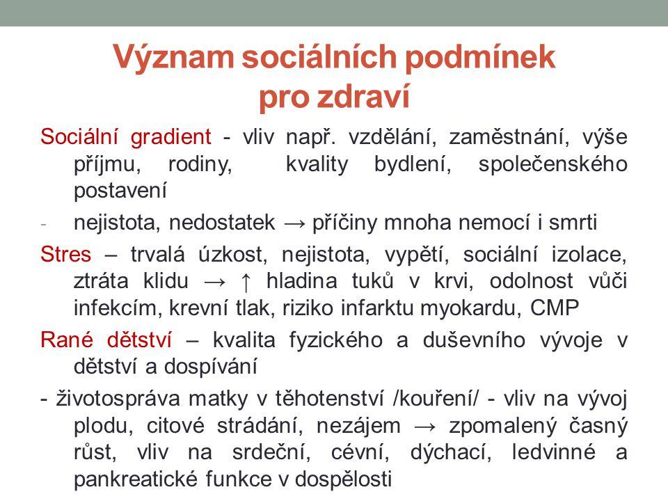Význam sociálních podmínek pro zdraví Sociální gradient - vliv např. vzdělání, zaměstnání, výše příjmu, rodiny, kvality bydlení, společenského postave
