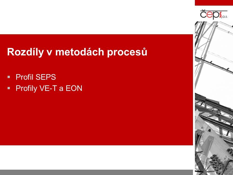 Rozdíly v metodách procesů  Profil SEPS  Profily VE-T a EON