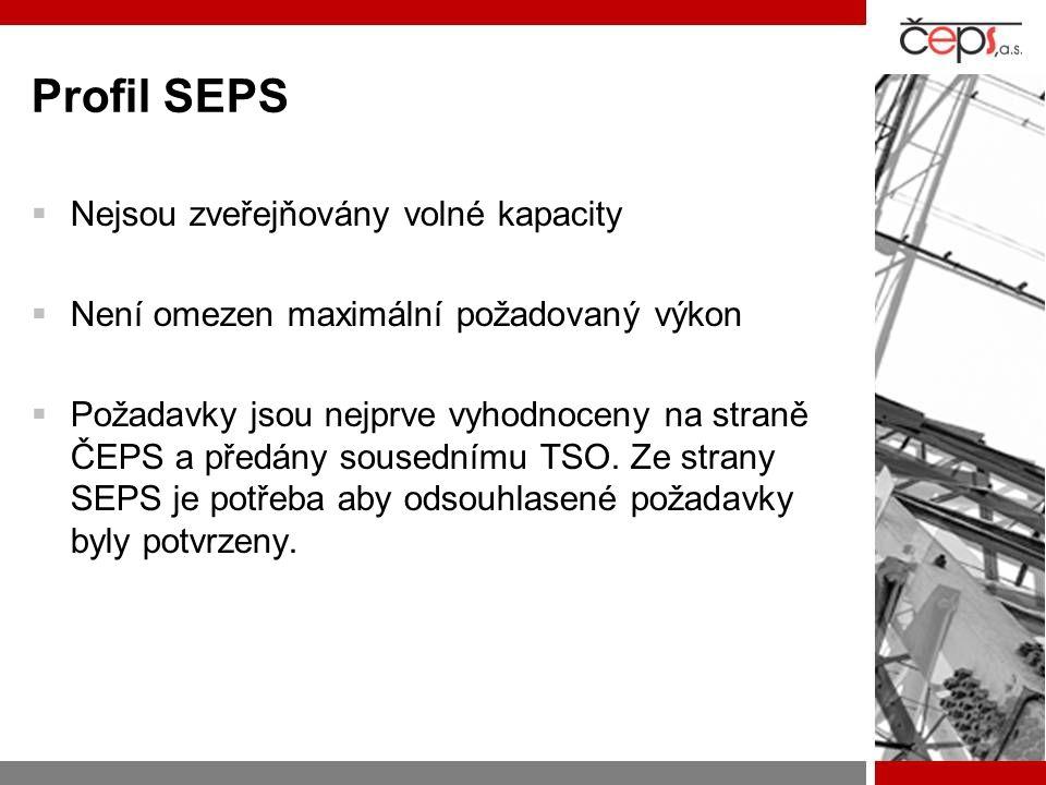 Profil SEPS  Nejsou zveřejňovány volné kapacity  Není omezen maximální požadovaný výkon  Požadavky jsou nejprve vyhodnoceny na straně ČEPS a předány sousednímu TSO.