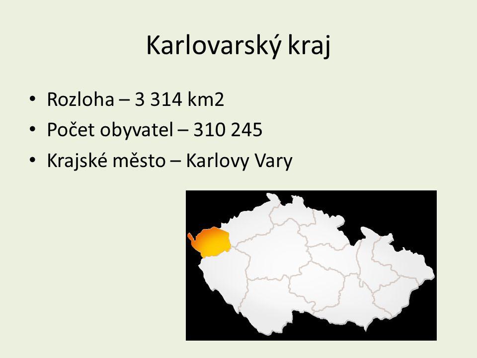 Karlovarský kraj Rozloha – 3 314 km2 Počet obyvatel – 310 245 Krajské město – Karlovy Vary