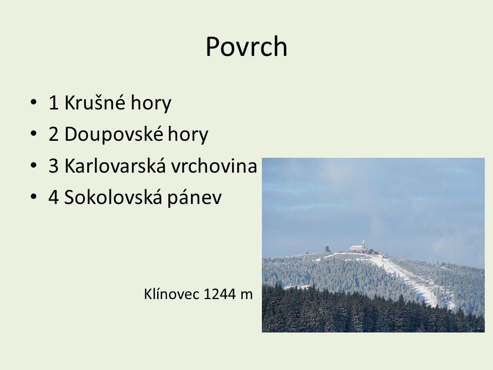 Povrch 1 Krušné hory 2 Doupovské hory 3 Karlovarská vrchovina 4 Sokolovská pánev Klínovec 1244 m