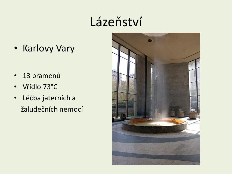 Lázeňství Karlovy Vary 13 pramenů Vřídlo 73°C Léčba jaterních a žaludečních nemocí