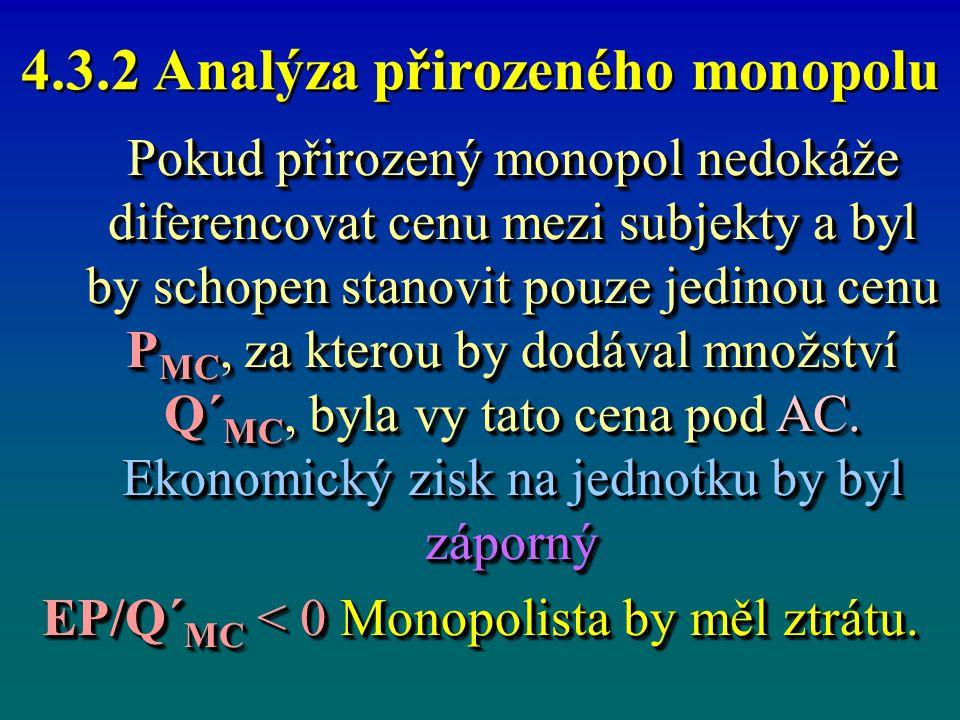 4.3.2 Analýza přirozeného monopolu Pokud přirozený monopol nedokáže diferencovat cenu mezi subjekty a byl by schopen stanovit pouze jedinou cenu P MC,