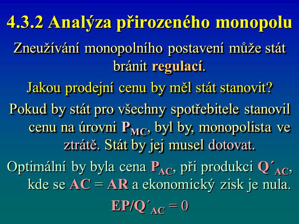 4.3.2 Analýza přirozeného monopolu Zneužívání monopolního postavení může stát bránit regulací. Jakou prodejní cenu by měl stát stanovit? Pokud by stát