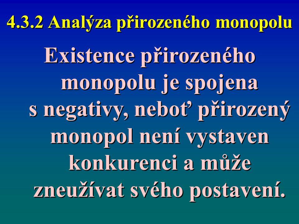 4.3.2 Analýza přirozeného monopolu Existence přirozeného monopolu je spojena s negativy, neboť přirozený monopol není vystaven konkurenci a může zneuž