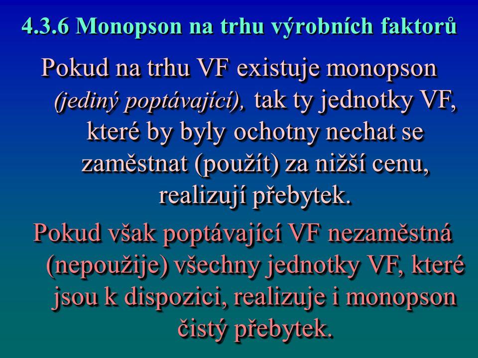 4.3.6 Monopson na trhu výrobních faktorů Pokud na trhu VF existuje monopson (jediný poptávající), tak ty jednotky VF, které by byly ochotny nechat se