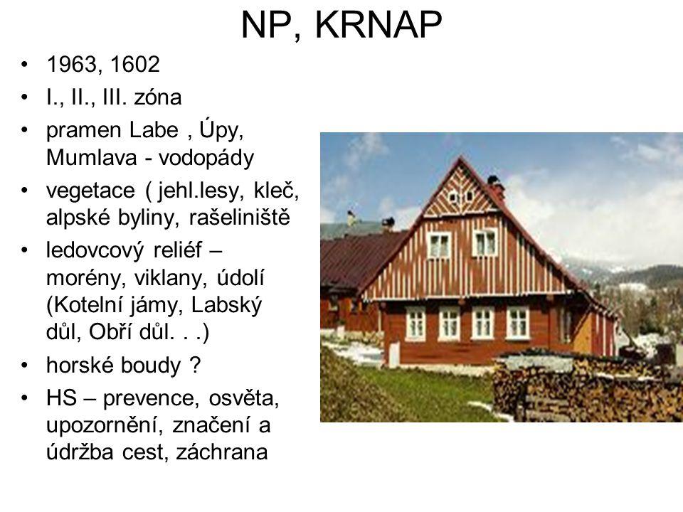 NP, KRNAP 1963, 1602 I., II., III. zóna pramen Labe, Úpy, Mumlava - vodopády vegetace ( jehl.lesy, kleč, alpské byliny, rašeliniště ledovcový reliéf –