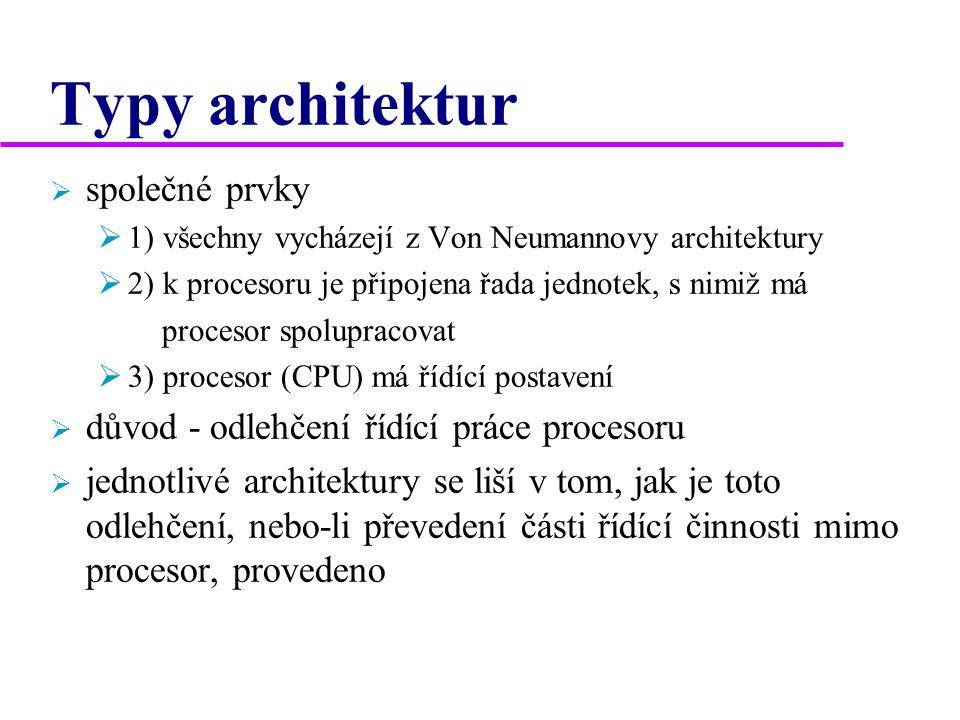 Typy architektur  společné prvky  1) všechny vycházejí z Von Neumannovy architektury  2) k procesoru je připojena řada jednotek, s nimiž má procesor spolupracovat  3) procesor (CPU) má řídící postavení  důvod - odlehčení řídící práce procesoru  jednotlivé architektury se liší v tom, jak je toto odlehčení, nebo-li převedení části řídící činnosti mimo procesor, provedeno