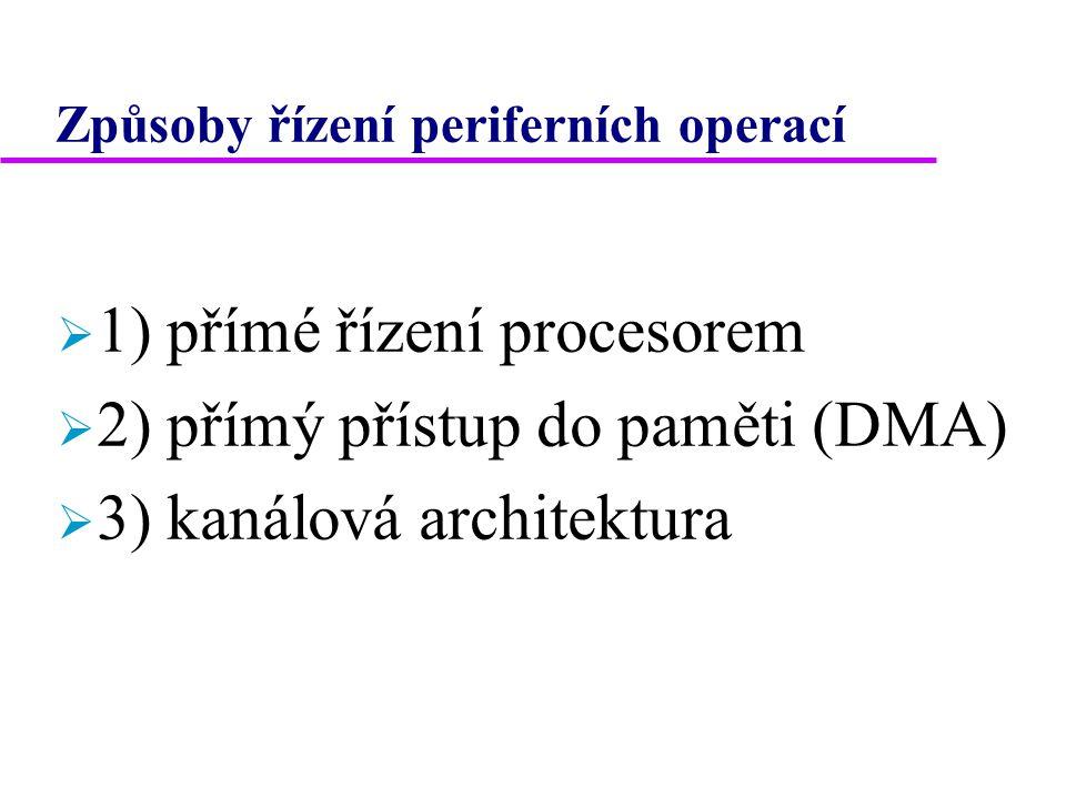 1) Přímé řízení procesorem  periferní zařízení (PZ) je vybaveno vlastním řadičem  procesor komunikuje s tímto řadičem  způsoby adresování PZ  a) adresový prostor PZ oddělen od adresového prostoru hlavní paměti (HP).