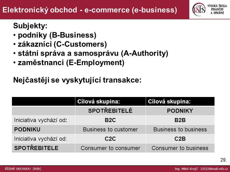 29. ŘÍZENÍ OBCHODU [ROb] Ing. Miloš Krejčí 22522@mail.vsfs.cz Elektronický obchod - e-commerce (e-business) Subjekty: podniky (B-Business) zákazníci (