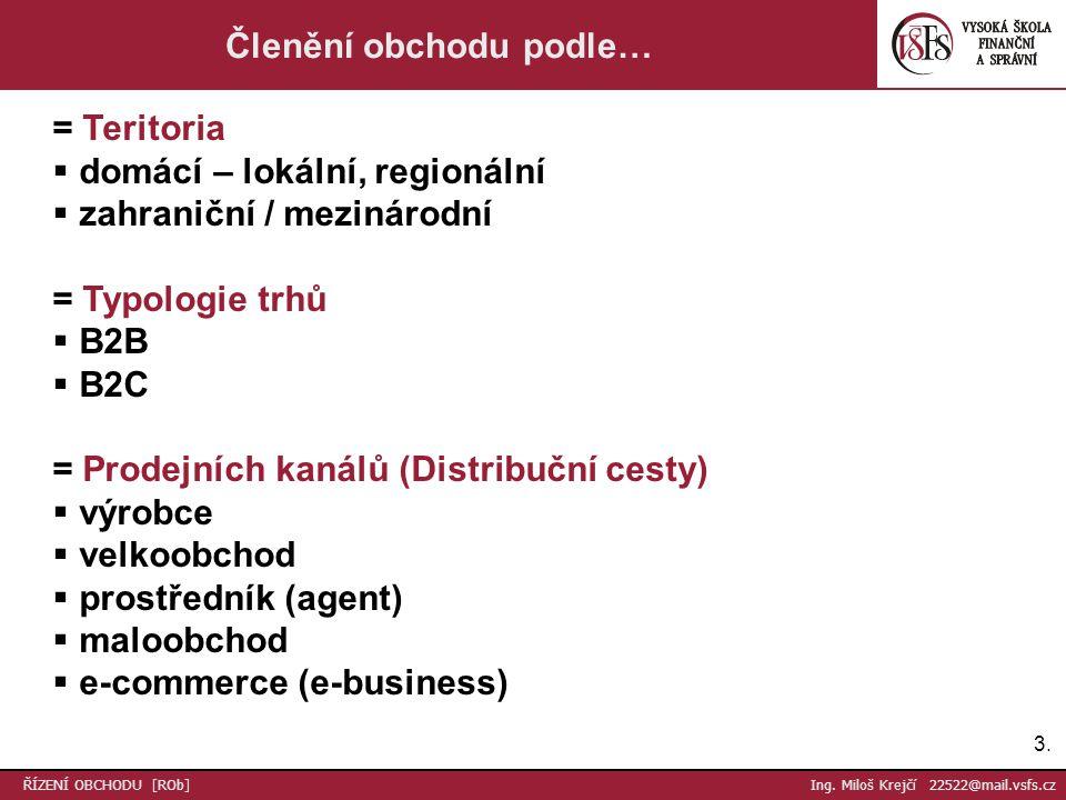 3.3. Členění obchodu podle… = Teritoria  domácí – lokální, regionální  zahraniční / mezinárodní = Typologie trhů  B2B  B2C = Prodejních kanálů (Di