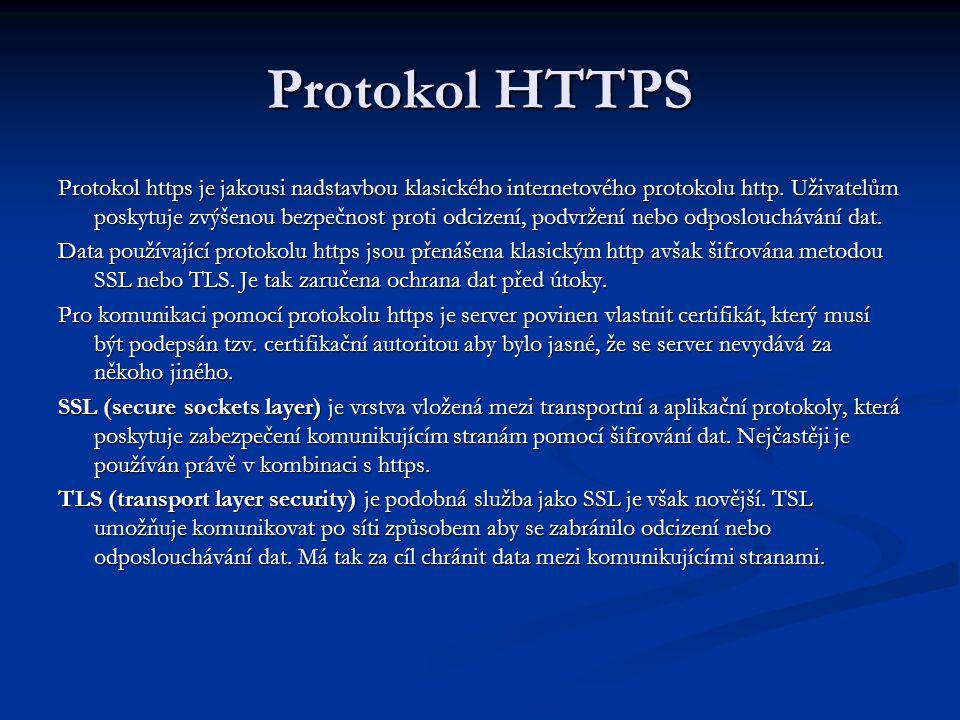 Protokol HTTPS Protokol https je jakousi nadstavbou klasického internetového protokolu http.