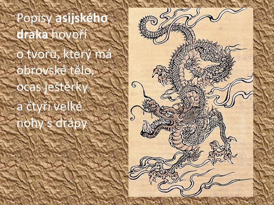 Popisy asijského draka hovoří o tvoru, který má obrovské tělo, ocas ještěrky a čtyři velké nohy s drápy