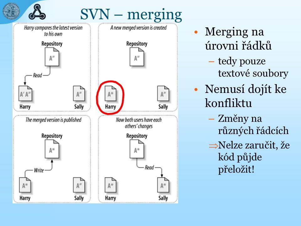 SVN – merging Merging na úrovni řádků – tedy pouze textové soubory Nemusí dojít ke konfliktu – Změny na různých řádcích  Nelze zaručit, že kód půjde přeložit!