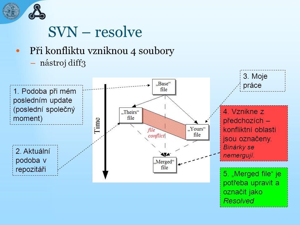 SVN – resolve Při konfliktu vzniknou 4 soubory – nástroj diff3 1.