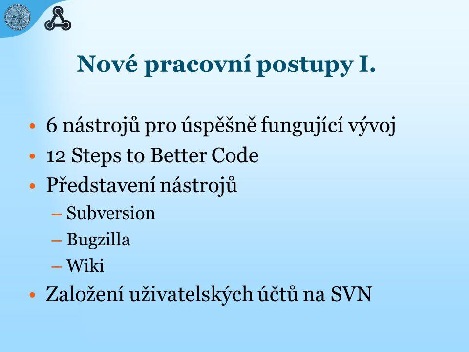 6 nástrojů pro úspěšně fungující vývoj 1.Verzování kódu Centrální úložiště 2.