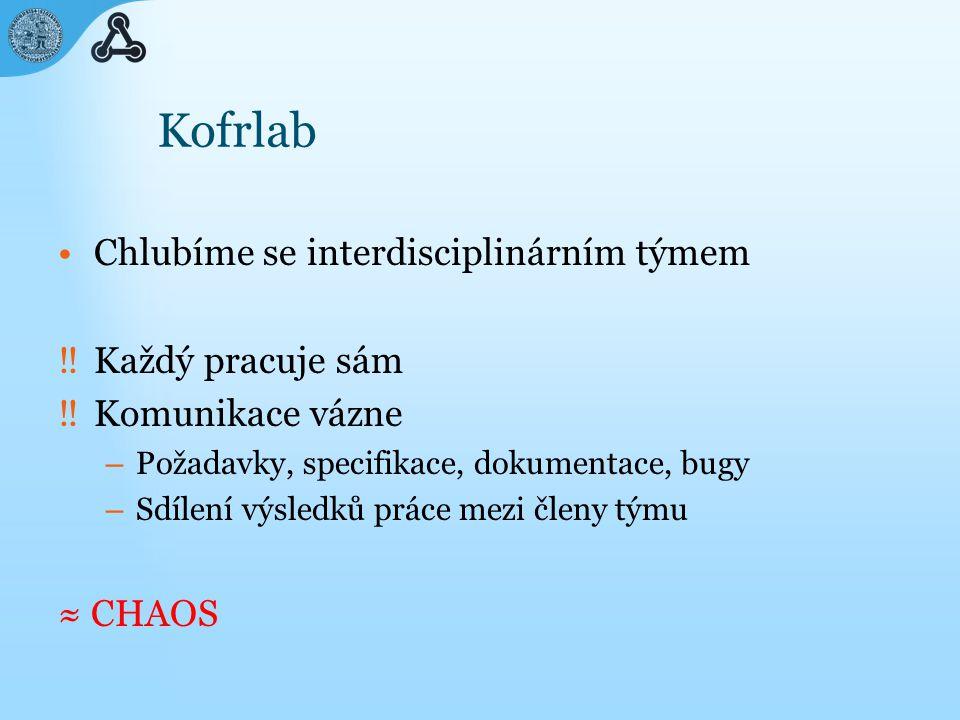 wiki @ Kofrlab Kofrlab Wiki – http://patf-biokyb.lf1.cuni.cz/wiki/ http://patf-biokyb.lf1.cuni.cz/wiki/ – veřejně pro čtení, pro zápis je potřeba registrace DokuWiki – zvýrazňování syntaxe
