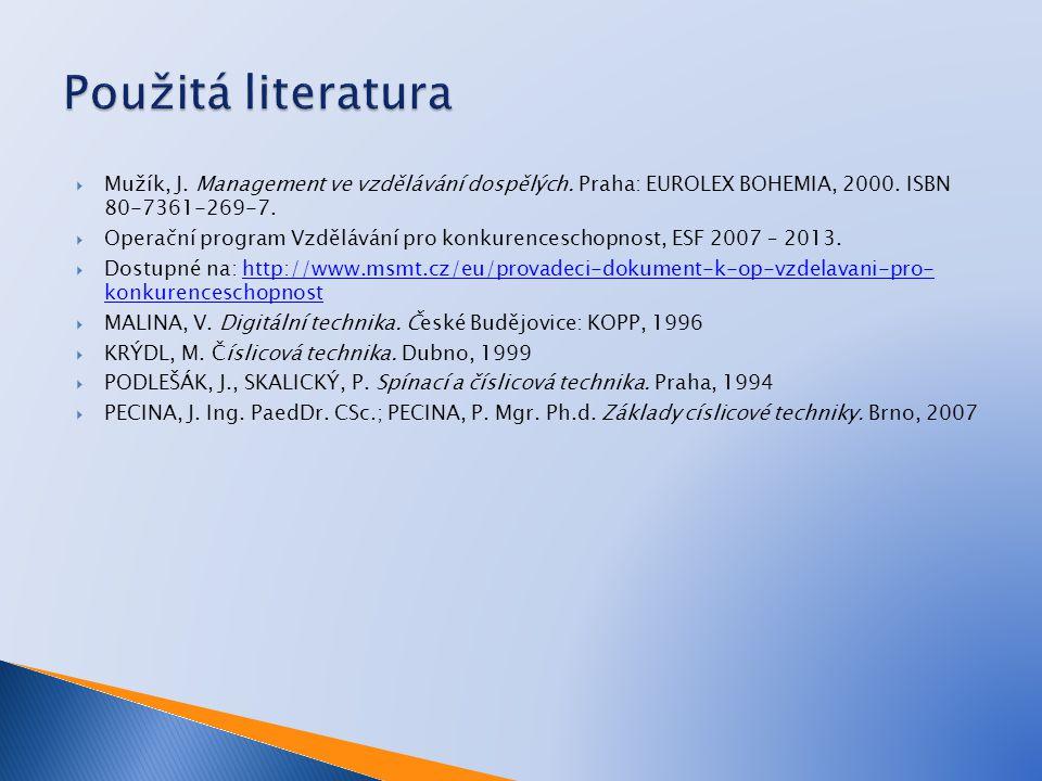  Mužík, J. Management ve vzdělávání dospělých. Praha: EUROLEX BOHEMIA, 2000. ISBN 80-7361-269-7.  Operační program Vzdělávání pro konkurenceschopnos
