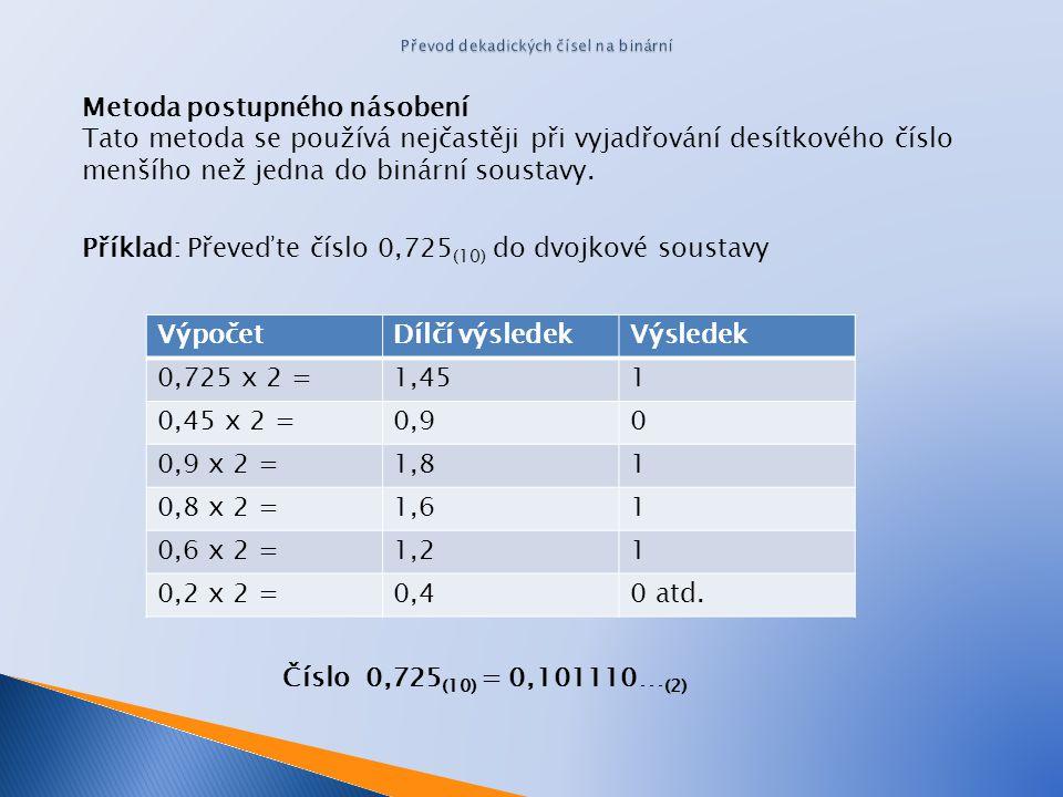Metoda postupného násobení Tato metoda se používá nejčastěji při vyjadřování desítkového číslo menšího než jedna do binární soustavy. Příklad: Převeďt