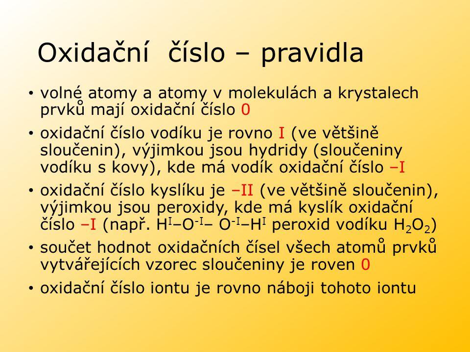 Oxidační číslo – pravidla volné atomy a atomy v molekulách a krystalech prvků mají oxidační číslo 0 oxidační číslo vodíku je rovno I (ve většině slouč