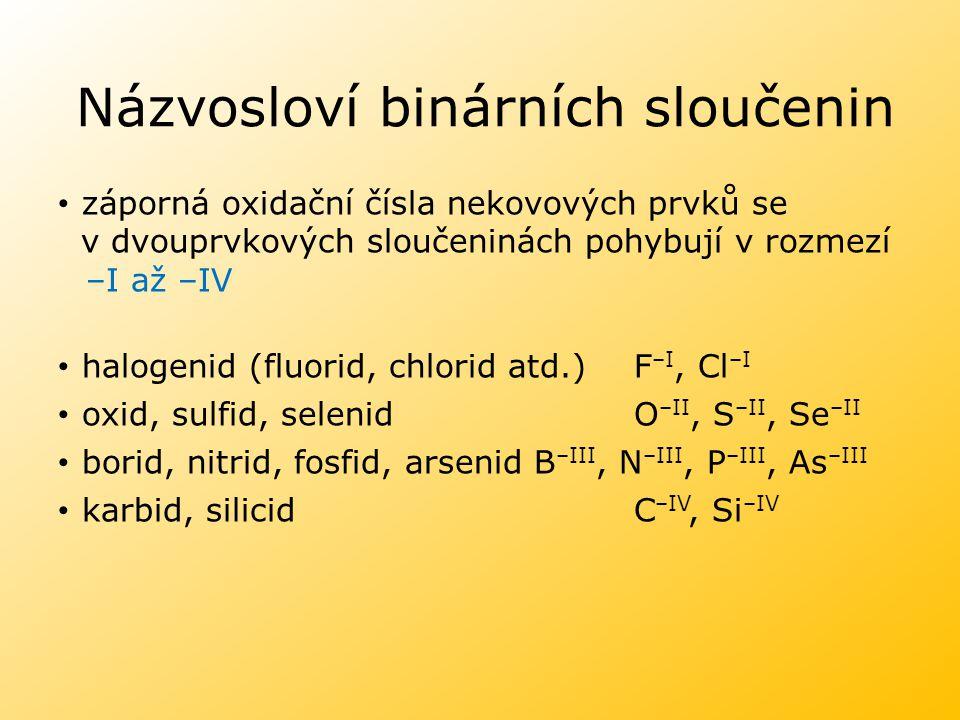 Názvosloví binárních sloučenin záporná oxidační čísla nekovových prvků se v dvouprvkových sloučeninách pohybují v rozmezí –I až –IV halogenid (fluorid