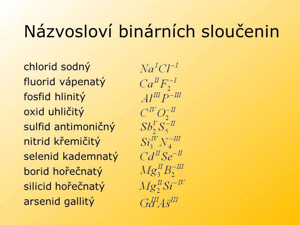 Názvosloví binárních sloučenin chlorid sodný fluorid vápenatý fosfid hlinitý oxid uhličitý sulfid antimoničný nitrid křemičitý selenid kademnatý borid