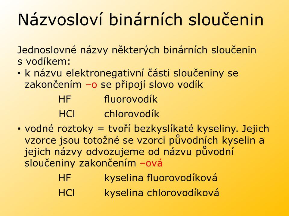 Názvosloví binárních sloučenin Jednoslovné názvy některých binárních sloučenin s vodíkem: k názvu elektronegativní části sloučeniny se zakončením –o s