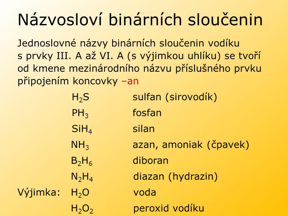 Názvosloví binárních sloučenin Jednoslovné názvy binárních sloučenin vodíku s prvky III. A až VI. A (s výjimkou uhlíku) se tvoří od kmene mezinárodníh