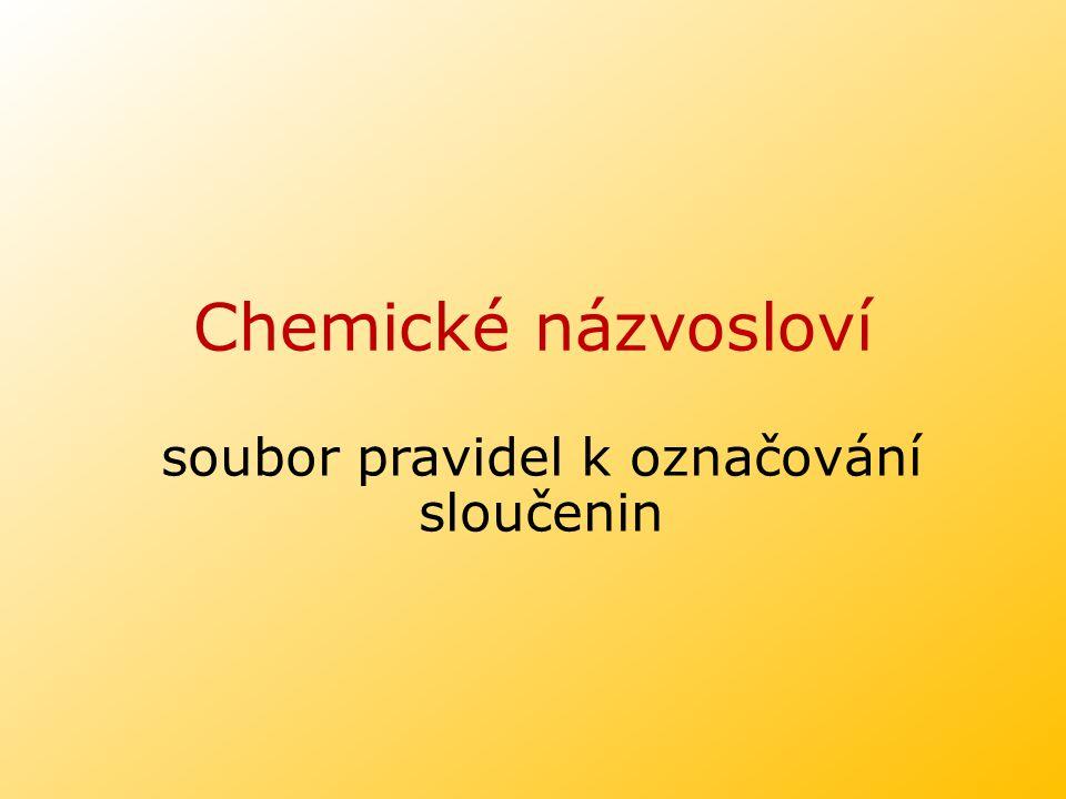 Chemické názvosloví soubor pravidel k označování sloučenin