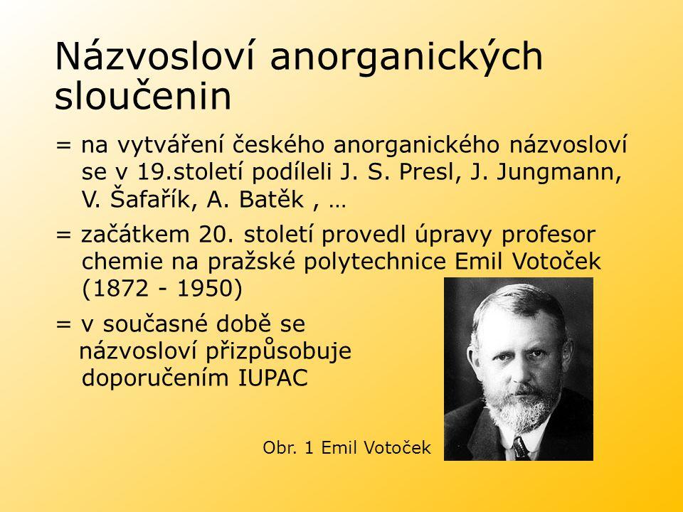Názvosloví anorganických sloučenin = na vytváření českého anorganického názvosloví se v 19.století podíleli J. S. Presl, J. Jungmann, V. Šafařík, A. B