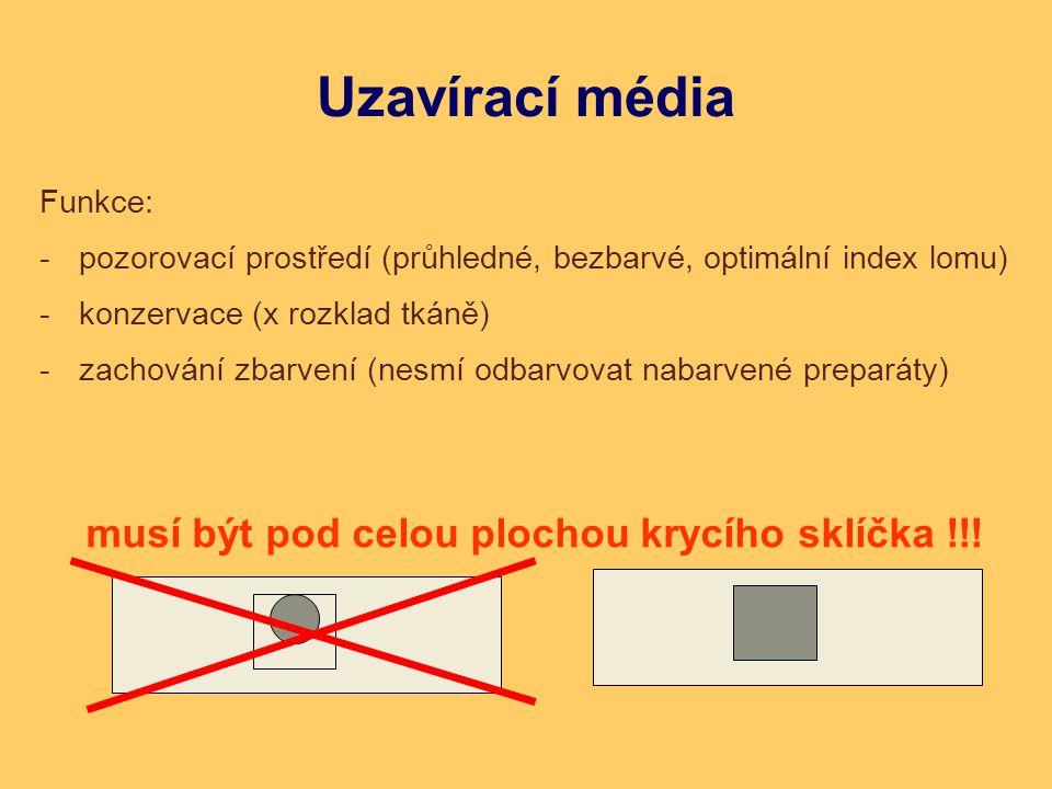 Uzavírací média Funkce: -pozorovací prostředí (průhledné, bezbarvé, optimální index lomu) -konzervace (x rozklad tkáně) -zachování zbarvení (nesmí odb