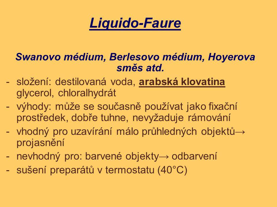 Liquido-Faure Swanovo médium, Berlesovo médium, Hoyerova směs atd. - složení: destilovaná voda, arabská klovatina glycerol, chloralhydrát - výhody: mů