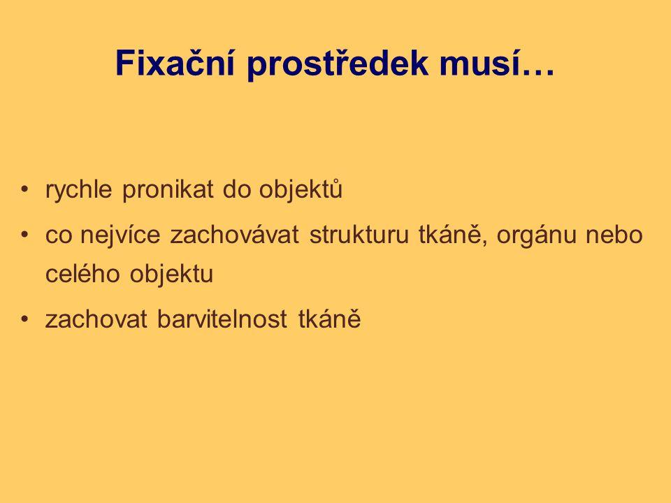 Fixační prostředek musí… rychle pronikat do objektů co nejvíce zachovávat strukturu tkáně, orgánu nebo celého objektu zachovat barvitelnost tkáně