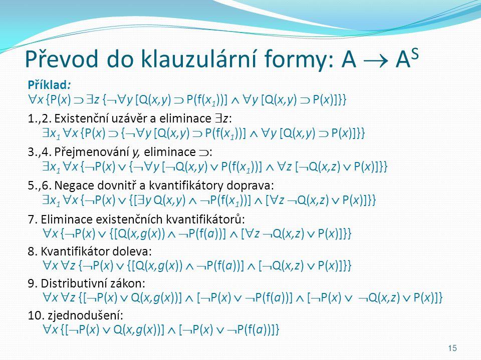 Příklad:  x {P(x)   z {  y [Q(x,y)  P(f(x 1 ))]   y [Q(x,y)  P(x)]}} 1.,2. Existenční uzávěr a eliminace  z:  x 1  x {P(x)  {  y [Q(x,y