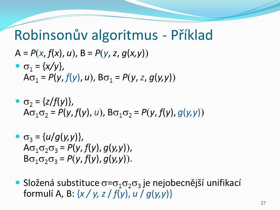 A = P  x, f(x), u , B = P  y, z, g(x,y)   1 = {x/y}, A  1 = P(y, f(y), u , B  1 = P  y, z, g(y,y)   2 = {z/f(y)}, A  1  2 = P(y, f(y), u