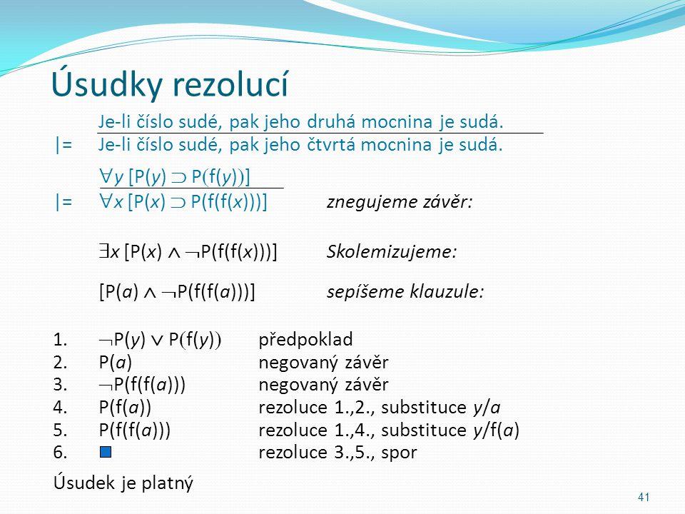 Úsudky rezolucí Je-li číslo sudé, pak jeho druhá mocnina je sudá. |=Je-li číslo sudé, pak jeho čtvrtá mocnina je sudá.  y [P(y)  P  f(y)  ] |=  x