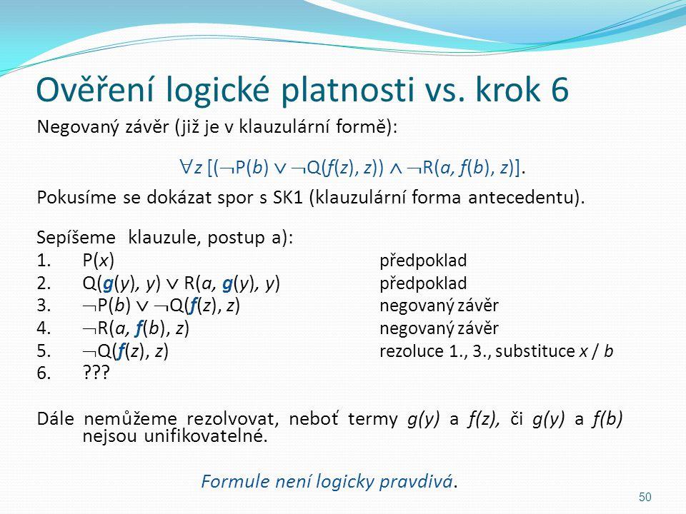 Negovaný závěr (již je v klauzulární formě):  z [(  P(b)   Q(f(z), z))   R(a, f(b), z)]. Pokusíme se dokázat spor s SK1 (klauzulární forma antec