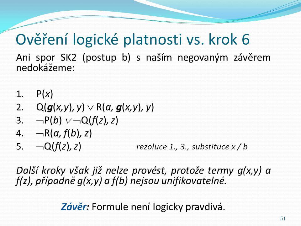 Ani spor SK2 (postup b) s naším negovaným závěrem nedokážeme: 1. P(x) 2. Q(g(x,y), y)  R(a, g(x,y), y) 3.  P(b)   Q(f(z), z) 4.  R(a, f(b), z) 5.